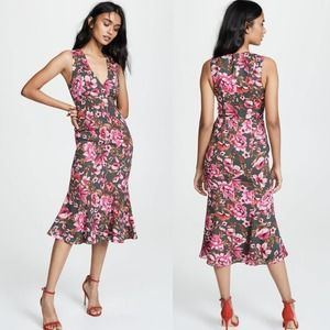 NWT Fame & Partners Bianca Floral Olive Midi Dress
